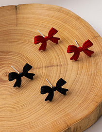 Fashion Red Bowknot Paint Alloy Earrings