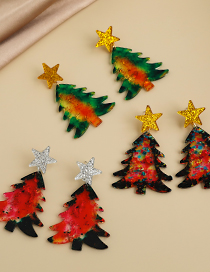 Fashion Green Resin Five-pointed Star Christmas Tree Earrings  Resin