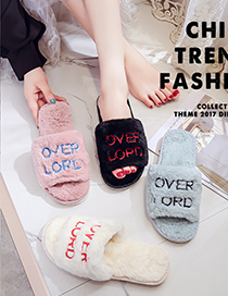 Fashion Pink Thicken Plus Velvet Embroidery One-word Cotton Slippers