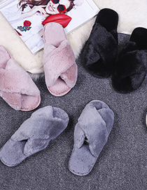 Fashion Black Non-slip Indoor Cross-hair Slippers