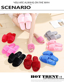 Fashion Yellow Thick Plush Non-slip Cotton Slippers