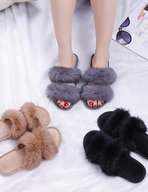 Fashion Black Flat Indoor Slippers With Real Rabbit Fur