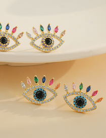Fashion Color Copper Inlaid Zircon Eye Stud Earrings