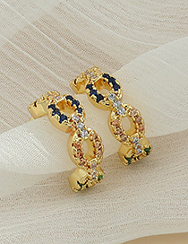 Fashion Golden Copper Inlaid Zircon Geometric Ear Bone Clip