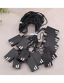 Fashion Square Note Ebony Wood Leather Rope Necklace Ebony Pendant Geometric Sweater Chain (single Price)