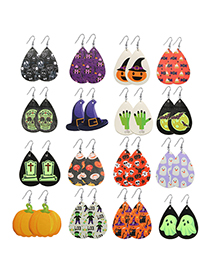 Fashion Ghost Halloween Faux Leather Ghost Skull Geometric Earrings