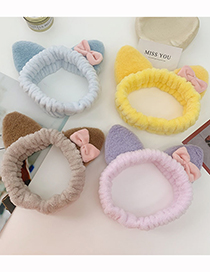 Fashion Coffee Color Cat Ears Plush Bow Elasticated Elastic Headband