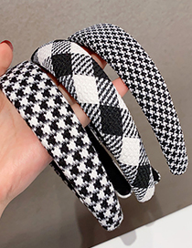 Fashion Black And White Square Houndstooth Fabric Wide Brim Headband