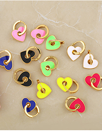 Fashion Yellow Dripping Love Heart Diamond-plated Copper Earrings