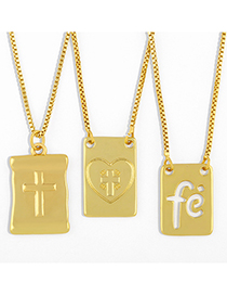 Fashion Cross Cross Square Heart Hollow Pendant Necklace