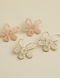 Fashion White Alloy Resin Transparent Beads Flowers