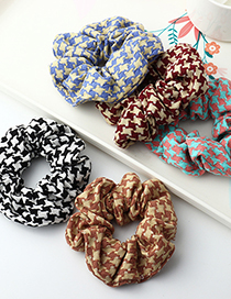 Fashion Red Checkered Fabric Large Intestine Ring Hair Rope