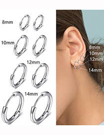 Fashion Color-8mm Titanium Steel Stainless Steel Geometric Round Earrings