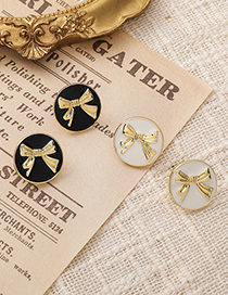 Fashion White Bowknot Round Oil Drop Alloy Earrings