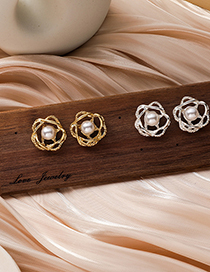 Fashion Gold Color Hollow Pearl Flower Alloy Earrings