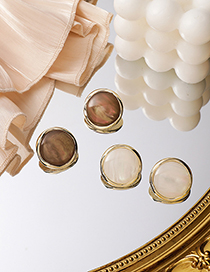Fashion Brown Round Opal Button Alloy Earrings