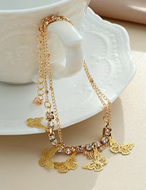 Fashion Gold Color Alloy Diamond Butterfly Double Bracelet