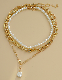 Fashion Gold Color Alloy Pearl Multilayer Necklace