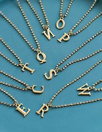 Fashion A Alloy Diamond And Gold Letter Necklace