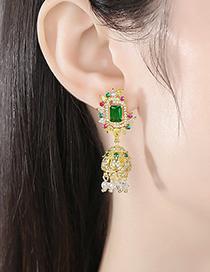 Fashion Gold Copper Inlaid Zircon Moon Bell Geometric Earrings