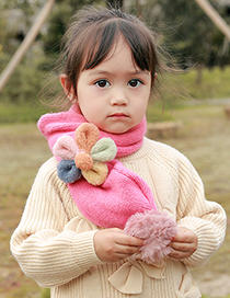 Fashion [orange Red] 6 Months-10 Years Old Plush Flower Childrens Contrast Wool Ball Scarf