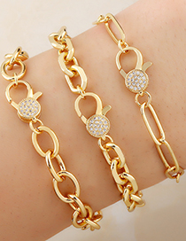 Fashion Type A Zircon Inlaid Copper Gold Plated Thick Chain Bracelet