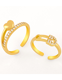 Fashion Love Love Lock-shaped Gold-plated Copper Open Ring With Zircon
