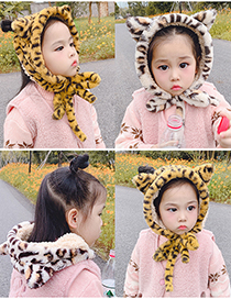 Fashion Yellow Leopard Print Recommended For 2 To 12 Years Old Leopard Print Plush Strap Childrens Earmuffs