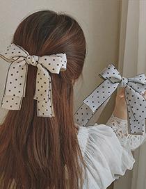 Fashion Blue Bowknot Fabric Wave Dot Alloy Hairpin