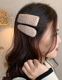 Fashion Green Square Wool Knitted Geometric Alloy Hairpin