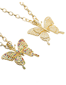 Fashion 50mm Chain Color Butterfly Alloy Diamond Butterfly Necklace