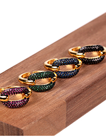 Fashion Red Carbide Geometry Lock Inlaid Zircon Gold-plated Copper Open Ring