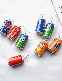 Fashion Blue Drink Simulation Cans Drink Bottle Resin Earrings