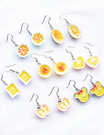 Fashion Wave Round Tofu Fun Simulation Food Resin Alloy Earrings