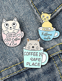 Fashion Coffee Pot Dripping Paint Coffee Cup Coffee Pot Cat Alloy Enamel Cat Brooch