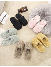 Fashion Yellow Lamb Hair Baotou Children Slippers