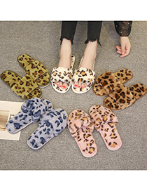 Fashion Green Leopard Print Plush Flat Slippers