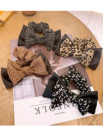 Fashion Black Leopard Leopard Print Double-layer Bow Hair Rope