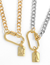 Fashion Chain Gold (without Letters) Copper Gold Plated Thick Chain Lock Necklace