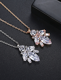 Fashion Platinum Copper Inlaid Zircon Leaf Geometric Necklace
