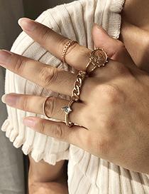 Fashion Golden 5-piece Set Of Alloy Diamond Geometric Ring
