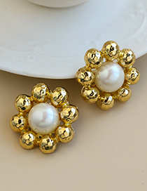 Fashion Golden Alloy Pearl Round Bead Earrings