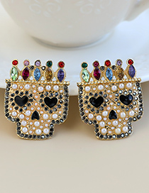 Fashion Color Alloy Diamond Crown Skull Stud Earrings
