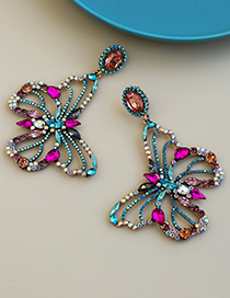 Fashion Color Alloy Diamond Hollow Butterfly Stud Earrings