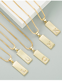 Fashion A Golden Brass Electroplated Micro-inlaid Zircon Pendant Letter Geometric Necklace