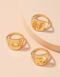 Fashion Moon Smiley Five-pointed Star Hollow Alloy Ring