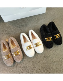Fashion White Lambs Wool Flat Metal Buckle Plus Velvet Cotton Shoes