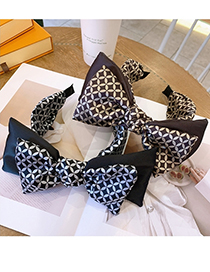 Fashion Black Bow Print Double-layer Contrast Color Wide-brim Hair Band
