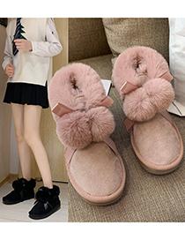 Fashion Black One-step Flat-bottomed And Velvet Frosted Ball Snow Boots