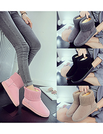 Fashion Black Fleece Flat-bottomed Wool Knitted Round-toe Snow Boots